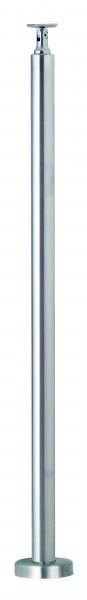 VA-Boden-Geländerpfosten 42,4mm m. angeschw. Ronde und verstellbarer Handlaufstütze, L=970mm