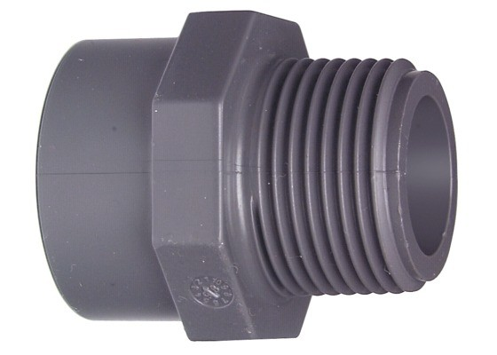 "Überg.-Mu.-Nippel d63x2"" AG PN16 Übergangsfitting aus PVC-U"