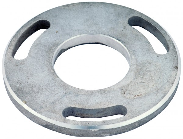 VA Bodenplatte Ø100x8mm mit 3x Langloch Innenbohrung 43mm LP 29B