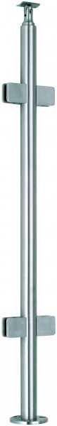 VA-Boden-Geländerpfosten 42,4x2mm inkl. 4 Glasklemmhaltern u. Rosette, L=970mm