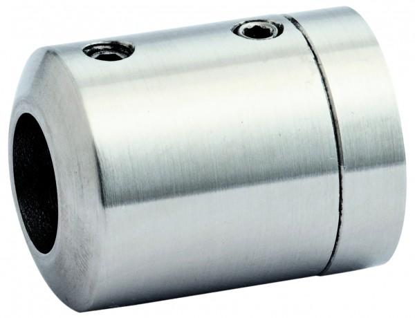 V4A Stabhalter für senk-u. waagerechten Einbau 2-tlg. gerader Anschluss, Bohrung 12,2mm