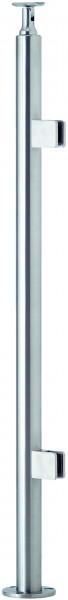 VA Boden-Geländerfosten (für Glas, mit 2 Haltern)