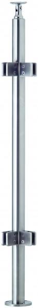VA-Boden-Geländerpfosten 42,4x2mm inkl. 4 Glasklemmhaltern (Eck) u. Rosette, L=970mm